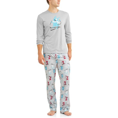 Family PJs Family Sleep Holiday Ski Dogs 2 Piece Pajama Sleep Set (Men's) (Adult Dog Onesie)