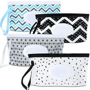 4 Pack Baby Wipe Dispenser, Portable Refillable Wipe Holder, Baby Wipes Container,Wipe Dispenser, Reusable Travel Wet Wipe Pouch