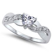 Women's Heart Infinity Knot Band Promise Ring ( Sizes 4 5 6 7 8 9 10 ) .925 Sterling Silver Rings by Sac Silver (Size 6)