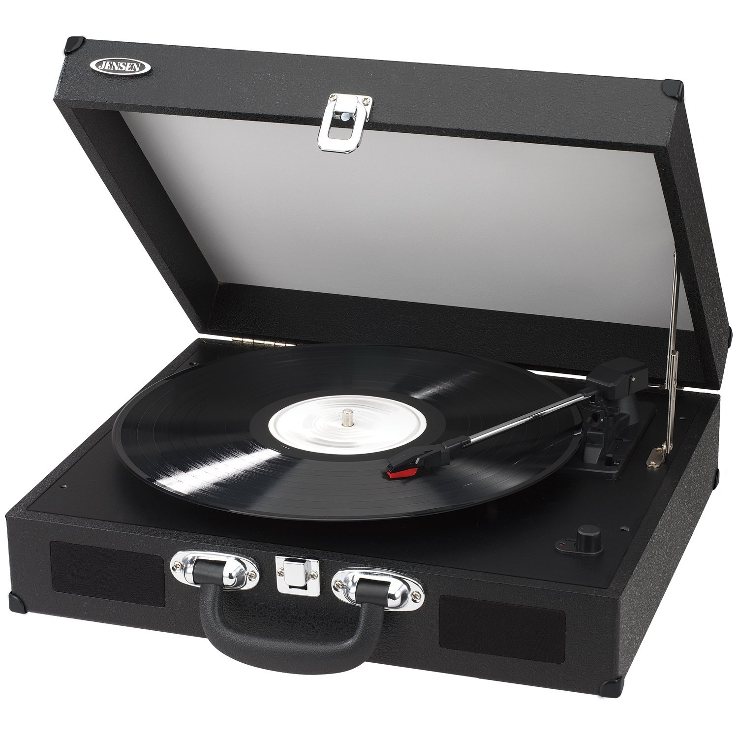 Jensen Portable 3-Speed Stereo Turntable with Built-In Speakers, Fully Automatic Return Tone Arm & Auxiliary Input Jack, USB Port with Cables, All Software for Recording Included