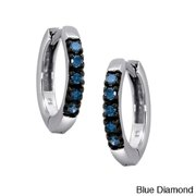 JewelonFire Sterling Silver 1/4ct TDW Diamond Hoop Earrings Blue