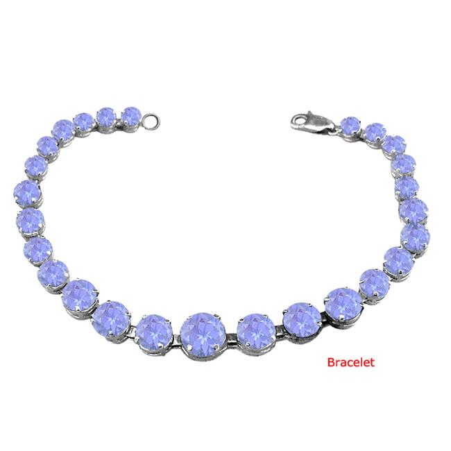Fine Jewelry Vault UBUBRBK7205AGTZ December Birthstone Prong Set Created Tanzanite Bracelet Sterling Silver 24th Wedding... by Fine Jewelry Vault