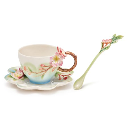 Franz PorcelainHeavenly Beauty Begonia Cup,Saucer,Spoon Cup & Saucer Spoon