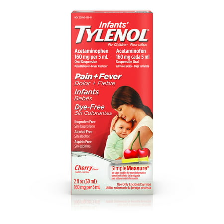 Infants' Tylenol Acetaminophen Medicine, Dye-Free Cherry, 2 fl. (Best Reflux Medicine For Infants)