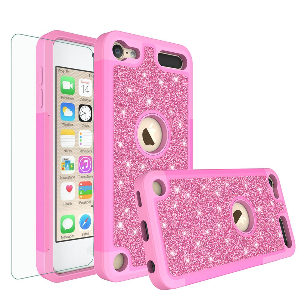 Apple iPod Touch 7 Case, Touch 5, 6, 7th Generation Cover, Luxury Glitter Bling Hybrid Case w/ [HD Screen Protector] Cover - Hot Pink