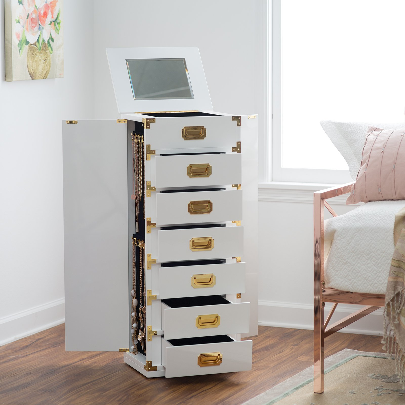 Belham Living Campaign Trunk Jewelry Armoire - High Gloss White ...