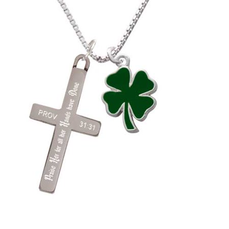 - Two Sided Green Enamel Lucky Four Leaf Clover - Praise Her - Cross Necklace
