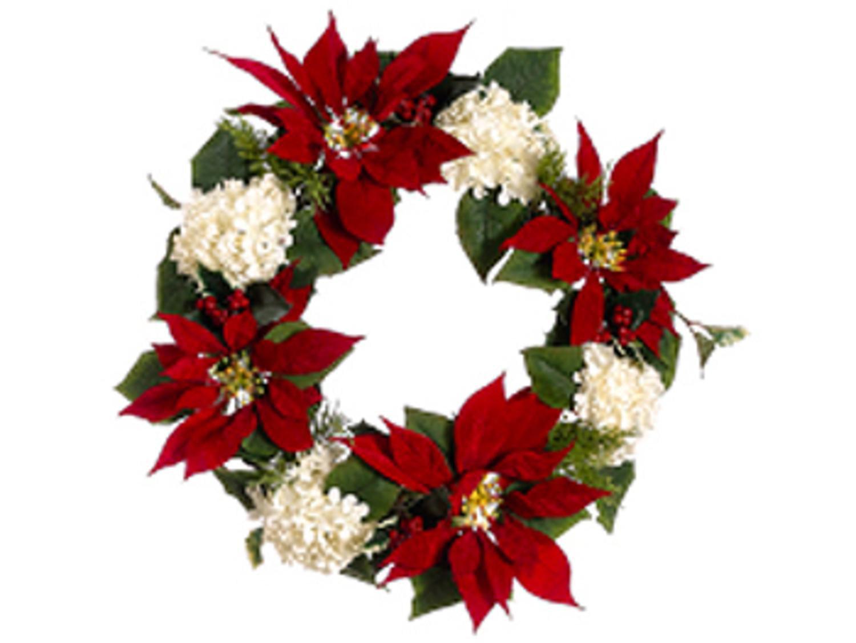 22 la costa red poinsettia white hydrangea holly artificial