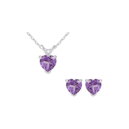 Amethyst Heart Earrings and Pendant Necklace Set 1.50 Carat (ctw) in Sterling Silver