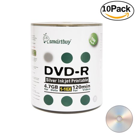 1000 Pack Smartbuy 16X DVD-R 4.7GB 120Min Silver Inkjet Hub Printable Data Blank Media Recordable Disc ()