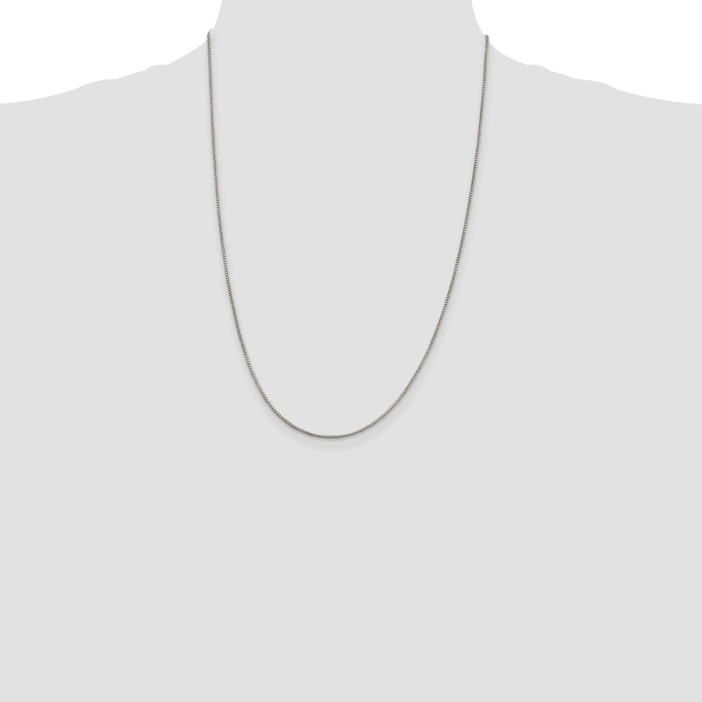 925 Sterling Silver 1.25mm Round Link Box Chain Necklace 24 Inch Pendant Charm Fine Jewelry Gifts For Women For Her - image 8 of 9