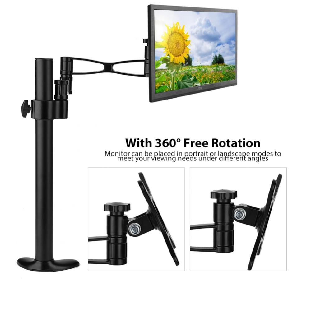 WALFRONT 10-27inch TV Adjustable Computer LCD Screen Monitor Mount Stand Holder Rack 360° Rotatable , Monitor Stand, Monitor Rack