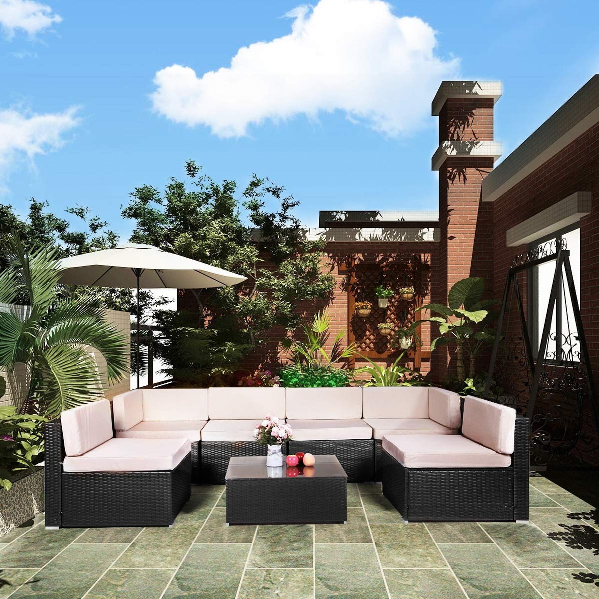 U-MAX 7 Pieces Patio PE Rattan Wicker Sofa Sectional ...