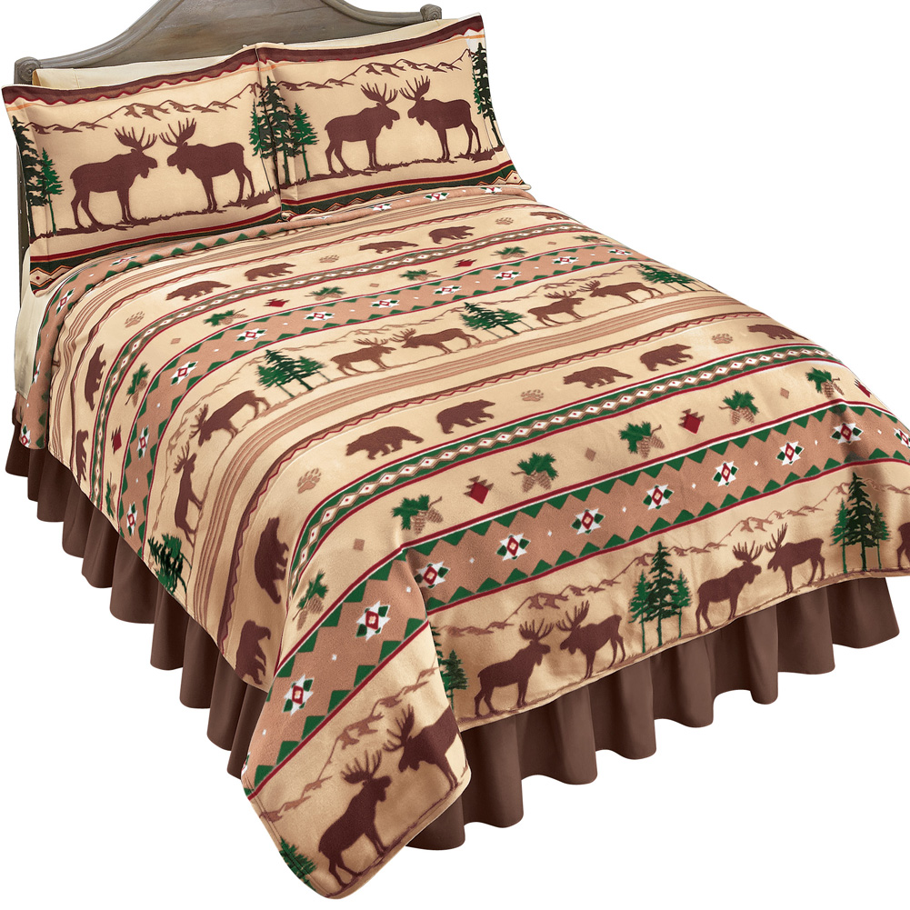 Rustic Lodge Fleece Coverlet Bedding, Cabin Style Décor with Bears, Moose and Aztec Print in Brown, Twin, Brown Stripe