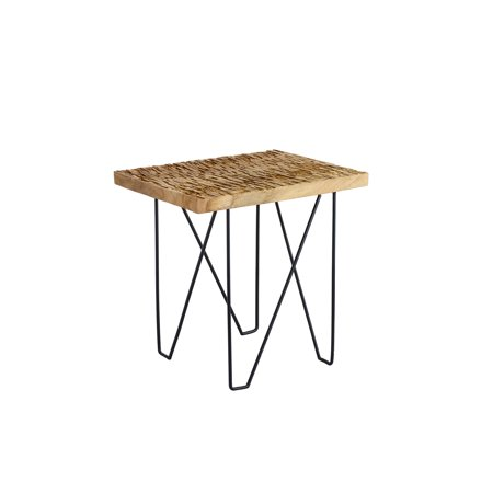 Design Ideas Rift Side Table, Rectangular Weathered Teak Wood Top Accent Furniture with Industrial Black Metal Iron Legs, 18