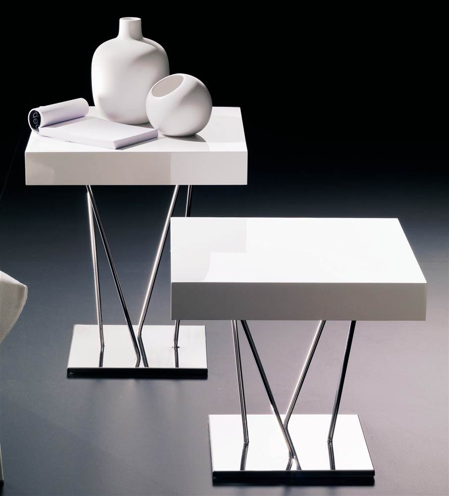 Modern Coffee Table with Metal Frame & White Square Top - Ginger