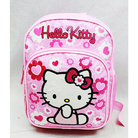 Hello Kitty Bag Pack (Mini Backpack - - Pink Flower Bow New School Bag)