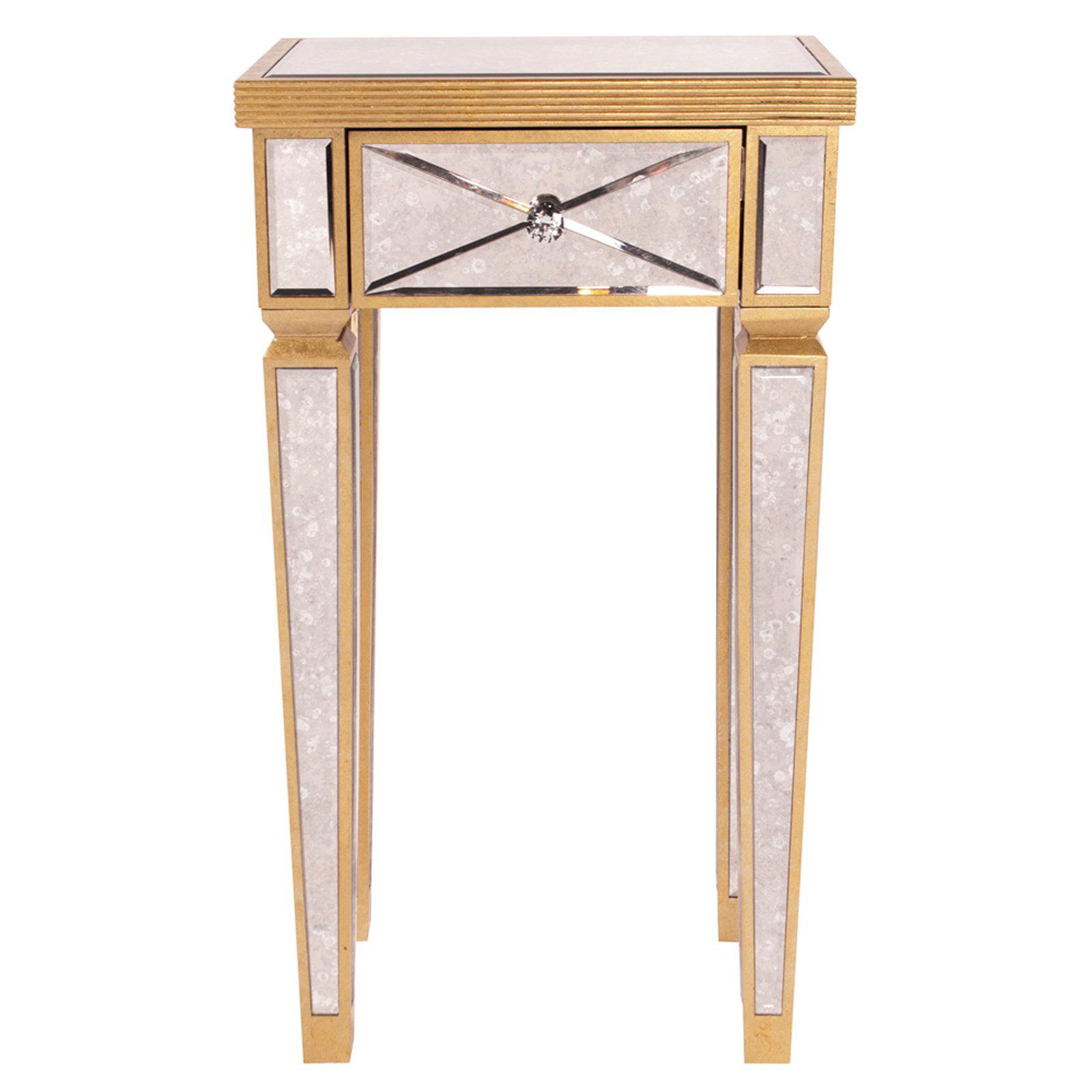 Elizabeth Austin Antique Gold Mirrored Pedestal Table by Howard Elliott