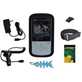 7 Items Accessory Combo Kit for Sandisk Sansa Fuze+ Plus 4GB 8GB 16GB MP3 Player: Includes Black Silicone Skin Case Cover,