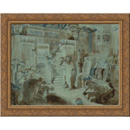 Pharaoh Asked Moses To Bring Jewish People Out Of Egypt 24X20 Gold Ornate Wood Framed Canvas Art By Alexander Ivanov