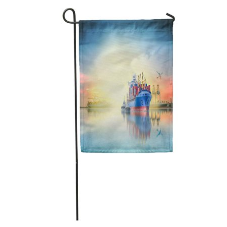 SIDONKU Logistics and Transportation of International Container Cargo Ship Plane Ports Crane Bridge in Harbor at Garden Flag Decorative Flag House Banner 28x40 - Harbor Banners