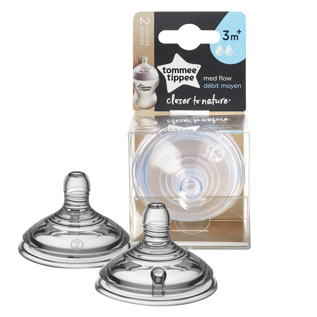 Tommee Tippee Closer to Nature Medium Flow Nipples, 3 month+, 2 pack
