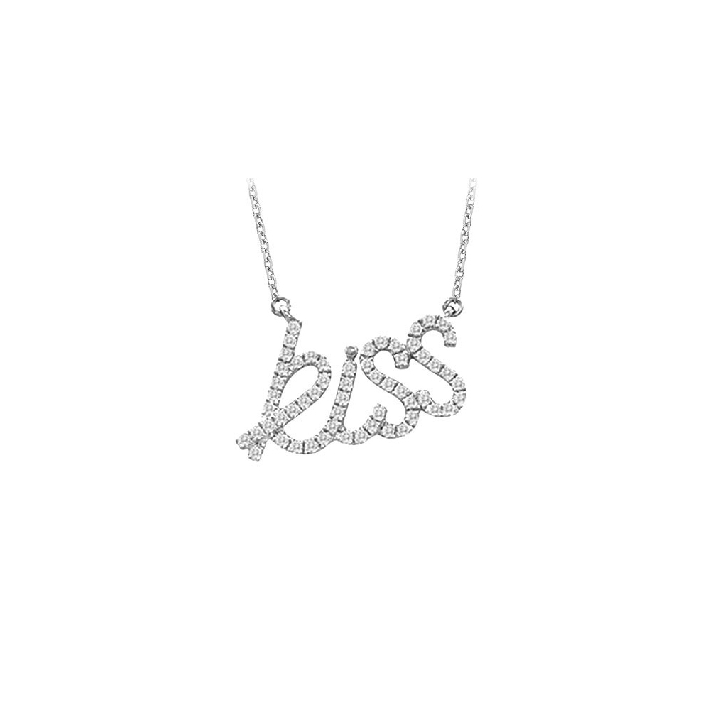 14K White Gold Diamonds Kiss Pendant Necklace 0.33 CT TDW - image 2 of 2