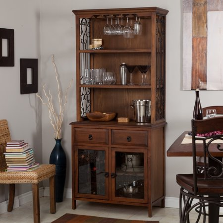 Belham Living Genova Bakers Rack With Wine Storage Dark Oak