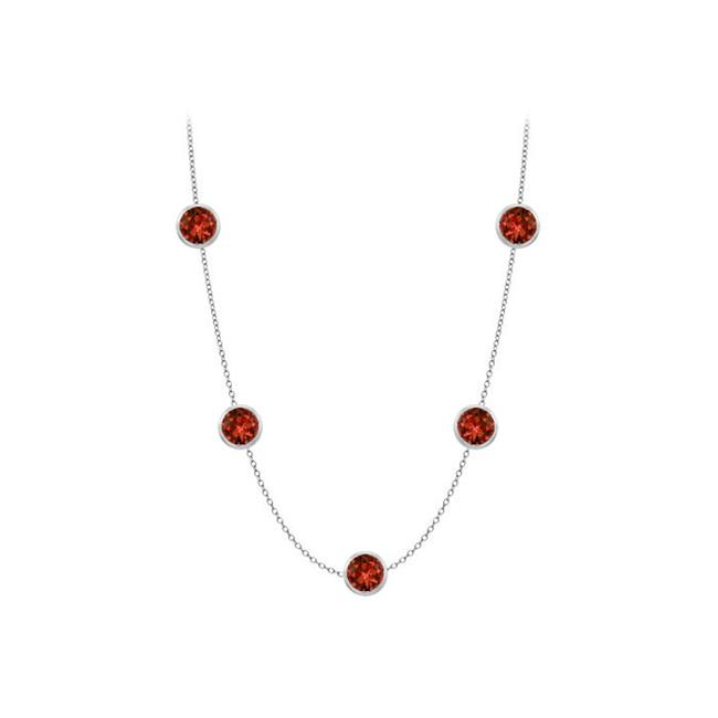 Fine Jewelry Vault UBYGR510014W36 Garnet station necklace with complete yard in 14k white gold 1 carat tgw by Fine Jewelry Vault