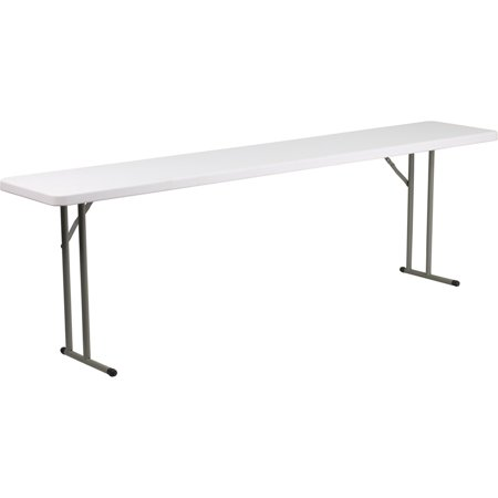 8' Plastic Folding Training Table with Granite White Top ()
