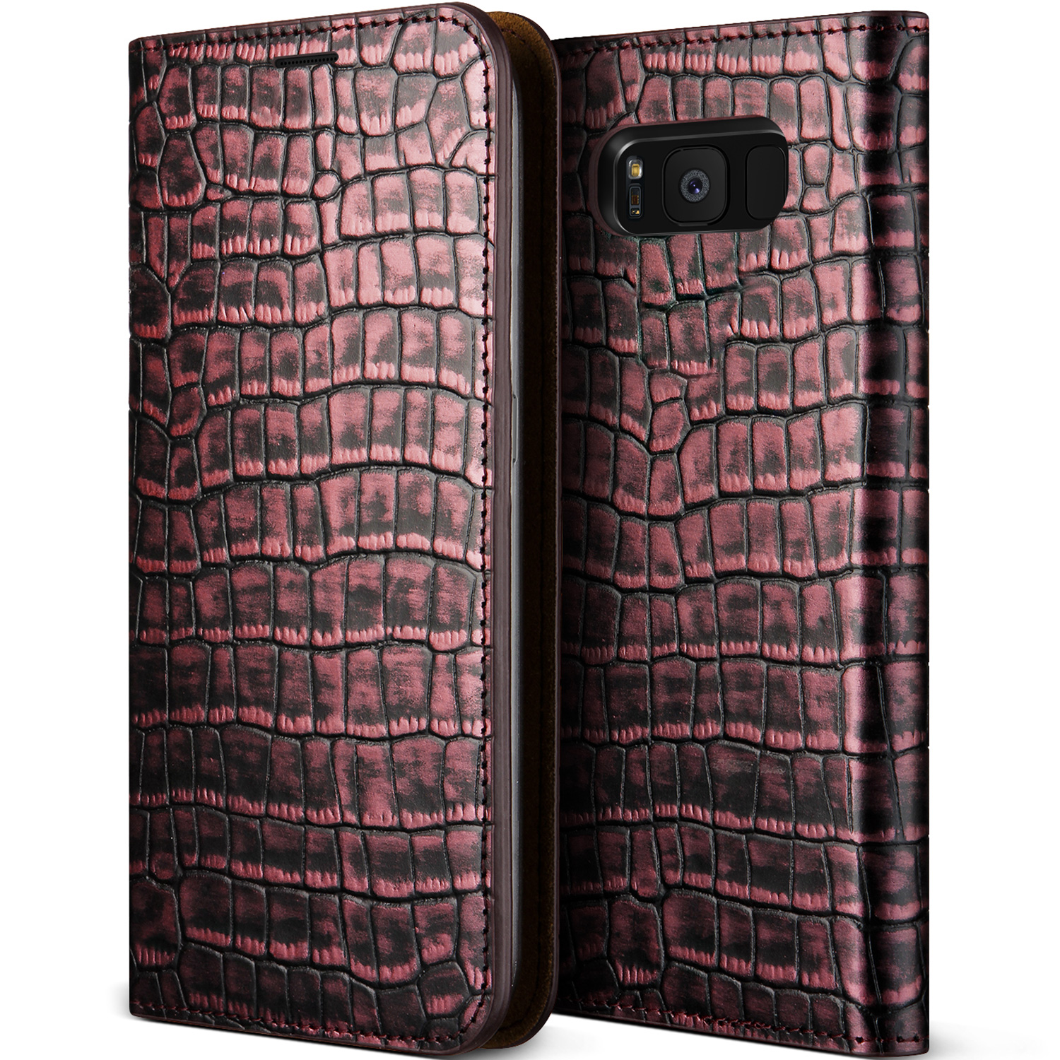 Samsung Galaxy S8 Case Cover | Slim Leather Wallet | VRS Design Genuine Leather Croco Diary for Samsung Galaxy S8
