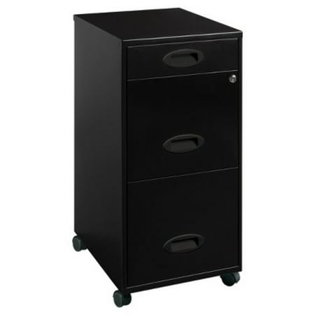 Lorell 3 Drawers Metal Vertical Lockable Filing Cabinet, Black