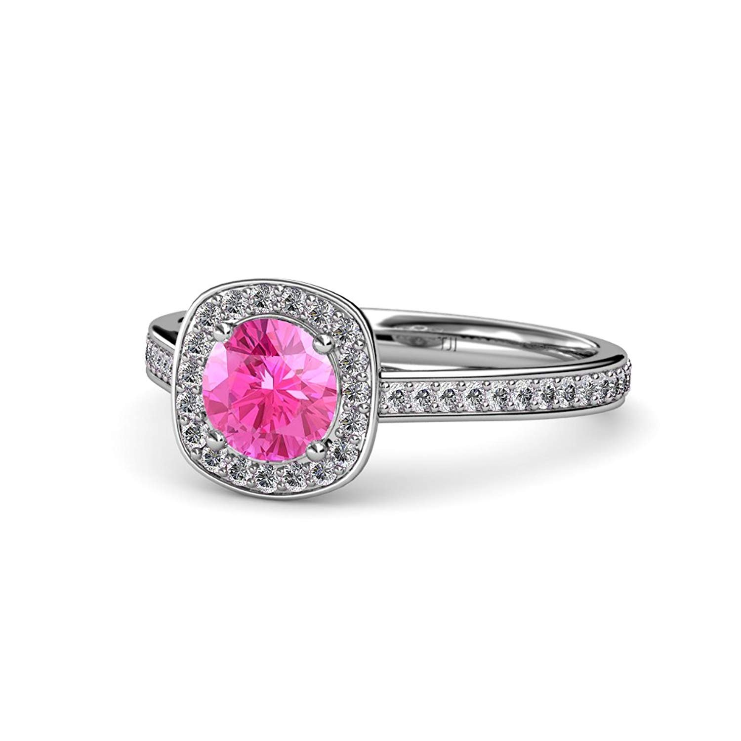 Pink Sapphire and Diamond (SI2-I1, G-H) Halo Engagement Ring 1.15 ct tw in 14K White Gold.size 5.0 by TriJewels
