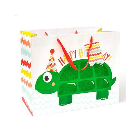 Zoomerang 'Happy Birthday' Jumbo Turtle Gift Bag & (Happy Birthday Gift Tags)
