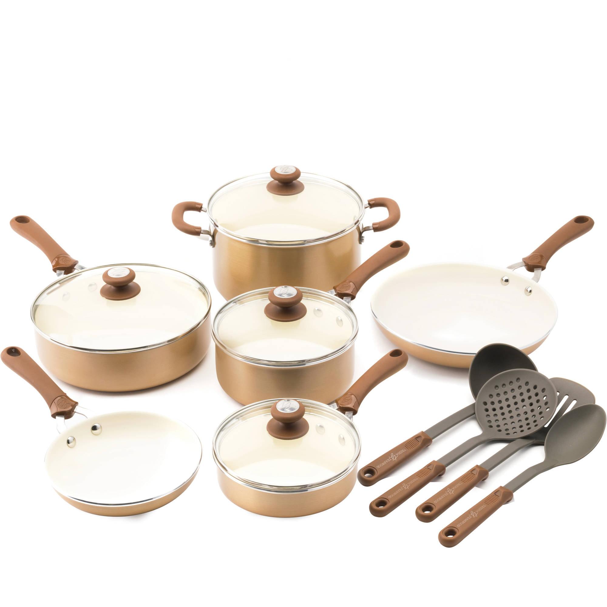 trisha yearwood precious metals aluminum nonstick ceramic 14piece cookware set walmartcom