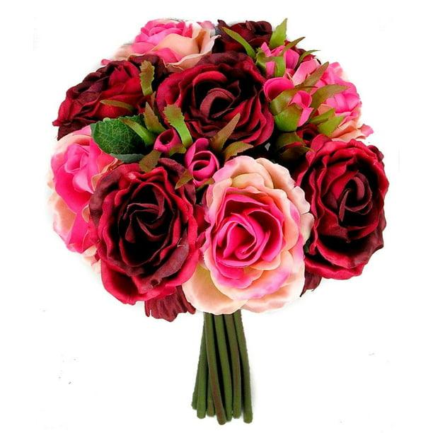 Rose Silk Flower Bouquet Burgundy Walmart Com Walmart Com