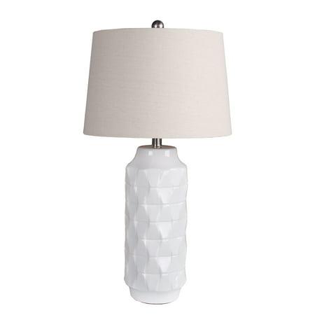 Privilege Transitional 100-Watt Gloss White Ceramic Base Table Lamp