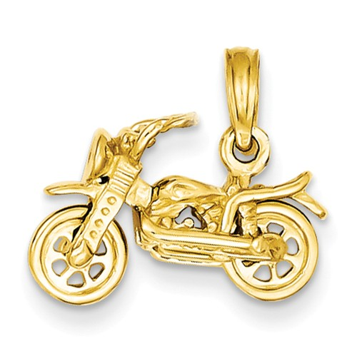 14k Yellow Gold 3-D Moveable Motorcycle Pendant