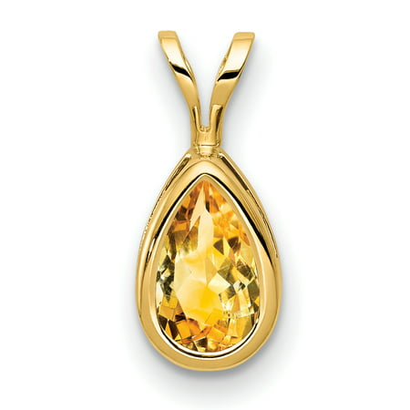 14K Yellow Gold 8X5mm Pear Citrine Bezel Pendant