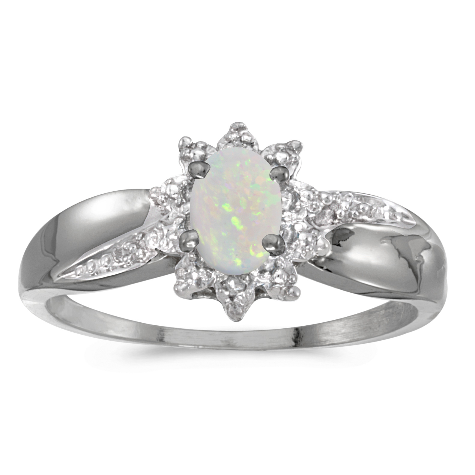 10k White Gold Oval Opal And Diamond Ring by