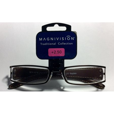 Magnivision Traditional Collection Metal Frame Reading Glasses Naples 2.5 (2 pack), New with tags By Foster Grant From (Glasses Frames Made In Usa)