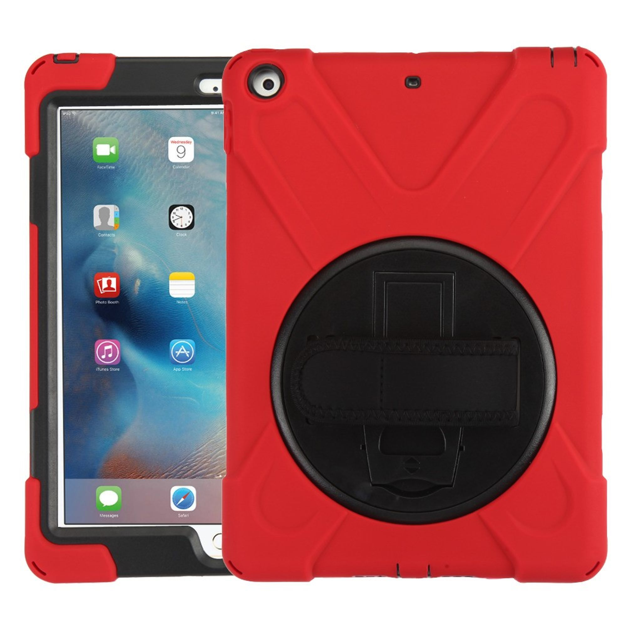 """MyBat Rotatable Stand Hard Hybrid Plastic TPU Cover Case w/stand For Apple iPad 9.7"""" (2017)/9.7"""" (2018) - Red/Black"""