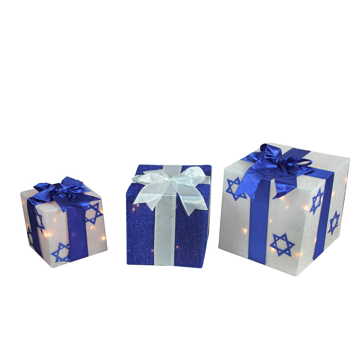 3 piece lighted white and blue hanukkah gift box christmas outdoor decoration set