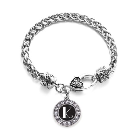 My Vintage Initials - Letter K Circle Charm Braided