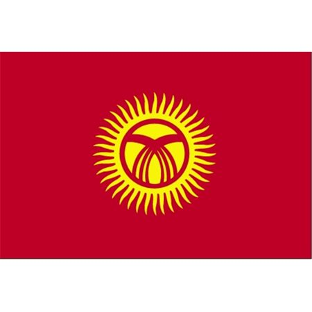 Annin Flagmakers 221760 3 Ft  X 5 Ft  Indoor And Parade Colonial Nyl Glo Kyrgyzstan Flag With Fringe