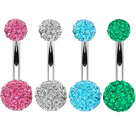 BodyJ4You 4PC Belly Button Ring Set Disco Ball Clear Pink Green CZ Crystal 14G Navel Banana Barbell