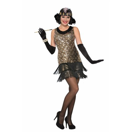 Halloween Sequin Roaring 20's Flapper Adult Costume](Halloween Flapper Girl)