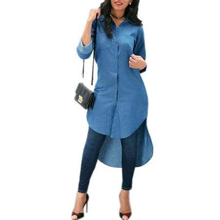 917e8cc8cae Sexy Dance - Denim Jeans Dresses for Women Buttons Boyfriend Shirt Mini  Dress Baggy Lapel V Neck Casual Loose Long High Low Top Blouse - Walmart.com