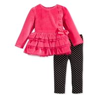 First Impressions Infant Girl 2 Piece Pink Velour Outfit Sweater Leggings