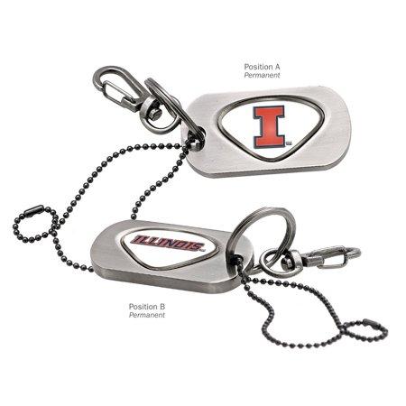 Illinois Fighting Illini Key (Illinois Fighting Illini Dog Tag Key Chain ILLINOIS CAPITAL I/ILLINOIS WORD)